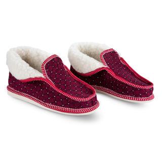 Dámske papuče s ovčou vlnou červené