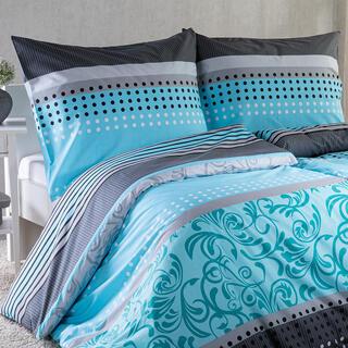 Bavlnené posteľné obliečky STACEY tyrkysovo-šedá