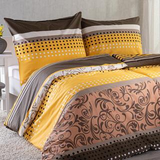 Bavlnené posteľné obliečky STACEY žlto-hnedá