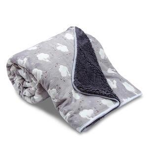 Obojstranná deka OVEČKA s ovečkami svetlošedá 150 x 200 cm