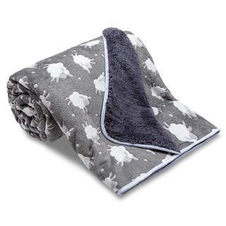 Obojstranná deka OVEČKA s ovečkami tmavošedá 150 x 200 cm
