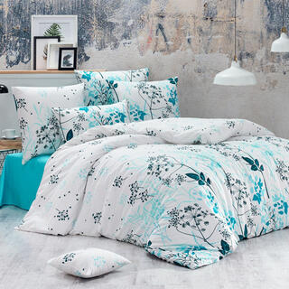 Bavlnené renforcé posteľné obliečky BLOMMOR tyrkysové