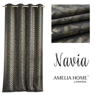 Záves BLACKOUT NAVIA čiernozlatý 140 x 250 cm
