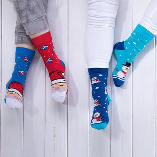 Veselé ponožky SNEHULIAK + MIKULÁŠ sada 2 párov