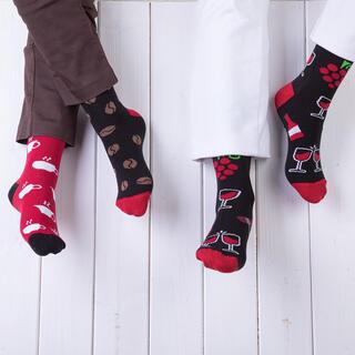 Veselé ponožky KÁVA + VÍNO sada 2 párov