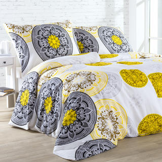 Krepové posteľné obliečky MANDALA žlto - čierne, štandardná dĺžka