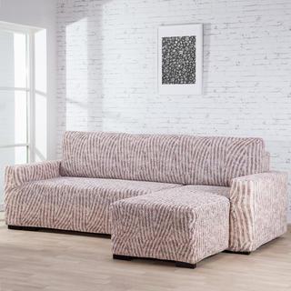Bielastické poťahy ROCCIA béžové, sedačka s otomanom vpravo (š. 170 - 200 cm)