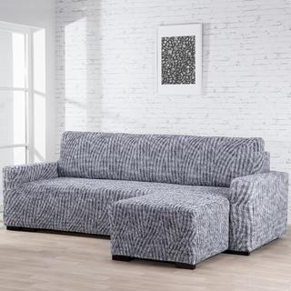 Bielastické poťahy ROCCIA šedé sedačka s otomanom vpravo (š. 170 - 200 cm)