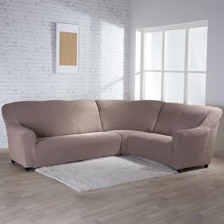 Bielastické poťahy BUKLÉ oriešková rohová sedačka (š. 350 - 530 cm)