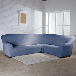 Bielastické poťahy BUKLÉ denimová rohová sedačka (š. 350 - 530 cm)