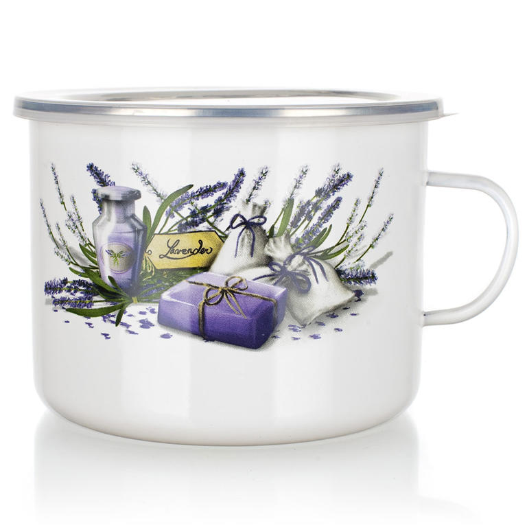 Smaltovaný hrnček s viečkom Lavender, BANQUET 2 l