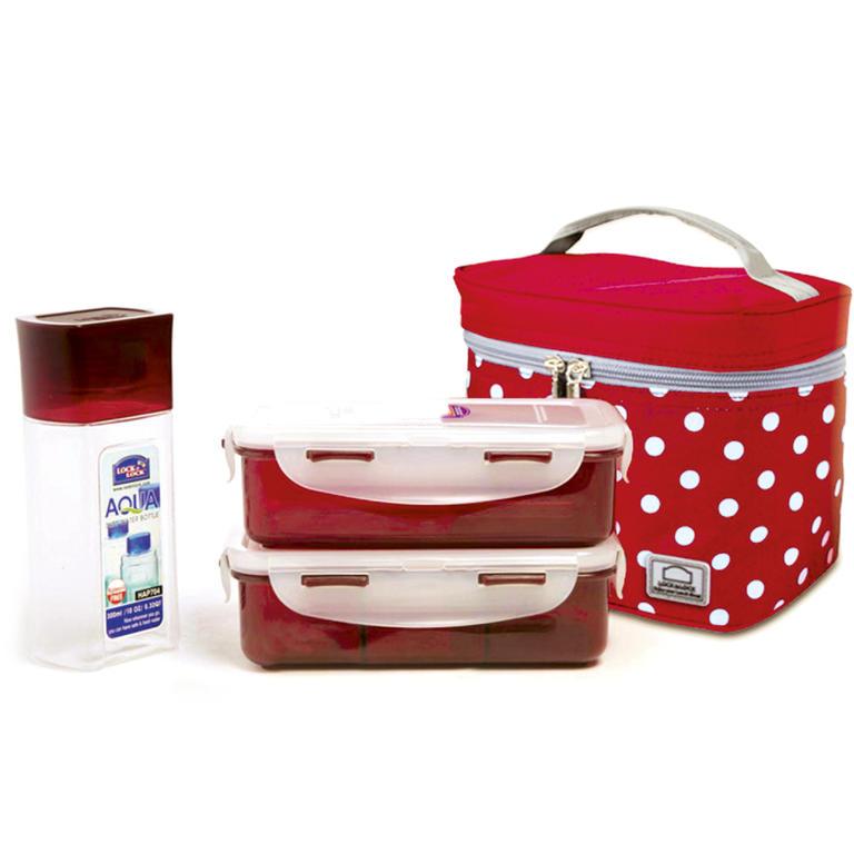 Bodkovaná taška Lunch Boxes červená