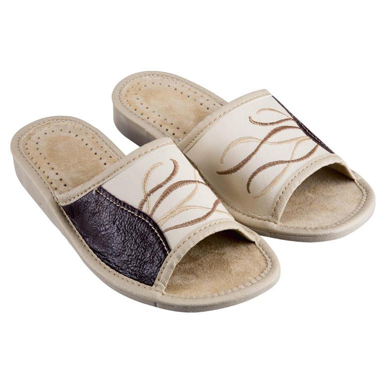 Kožené dámske papuče so vzorom veľ. 38
