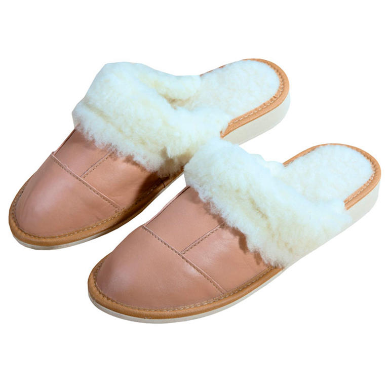 Dámske kožené papuče s ovčou vlnou veľ. 36