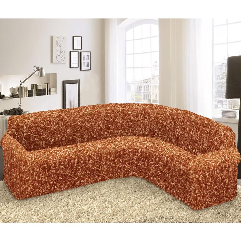 Bielastické poťahy INCA tehlové rohová sedačka (š. 350 - 530 cm) - 1