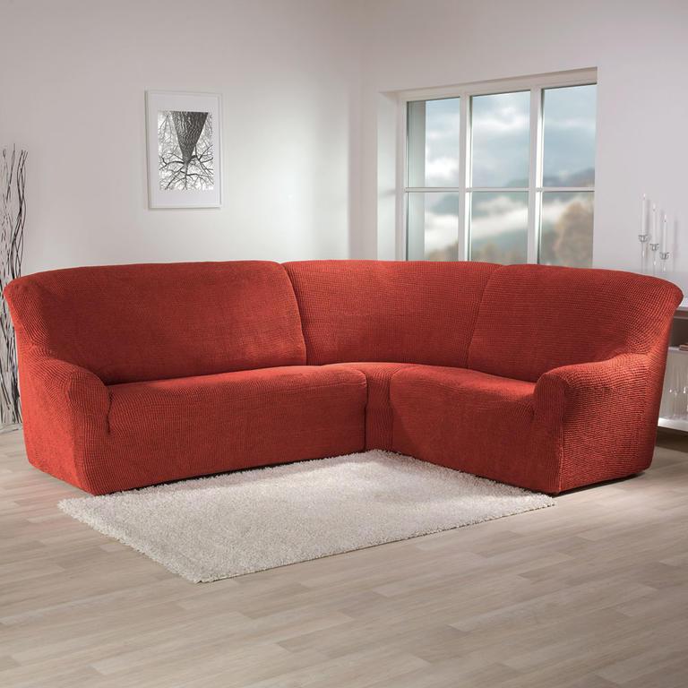 Super strečové poťahy GLAMOUR tehlová rohová sedačka (š. 350 - 530 cm) - 1