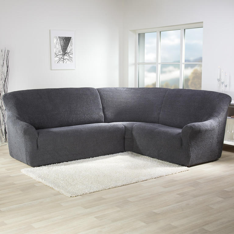 Super strečové poťahy GLAMOUR šedá rohová sedačka (š. 350 - 530 cm) - 1