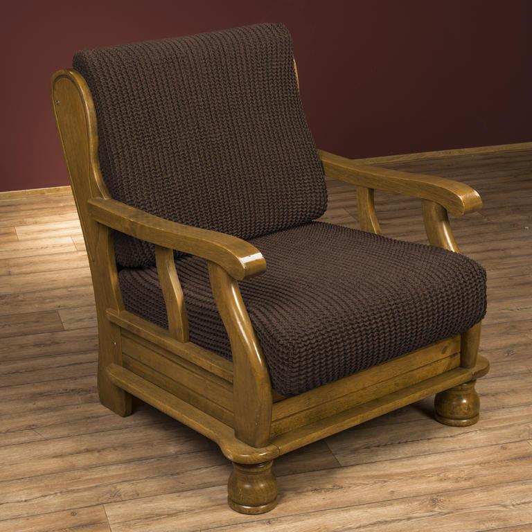 Super strečové poťahy GLAMOUR hnedá kreslo s drevenými rúčkami (š. 60 - 80 cm) - 1