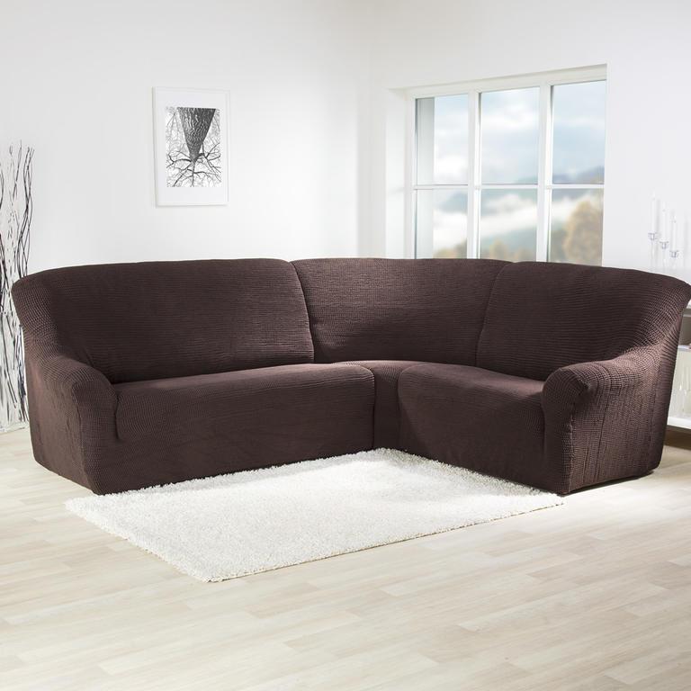 Super strečové poťahy GLAMOUR hnedá rohová sedačka (š. 350 - 530 cm) - 1