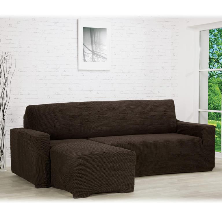 Super strečové poťahy GLAMOUR hnedá sedačka s otomanom vľavo (š. 210 - 270 cm)