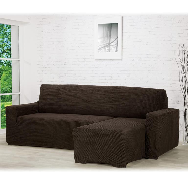 Super strečové poťahy GLAMOUR hnedá sedačka s otomanom vpravo (š. 210 - 270 cm)