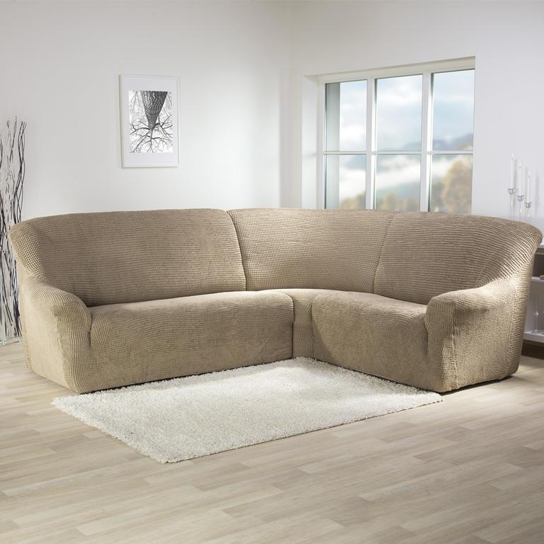 Super strečové poťahy GLAMOUR oriešková rohová sedačka (š. 350 - 530 cm) - 1
