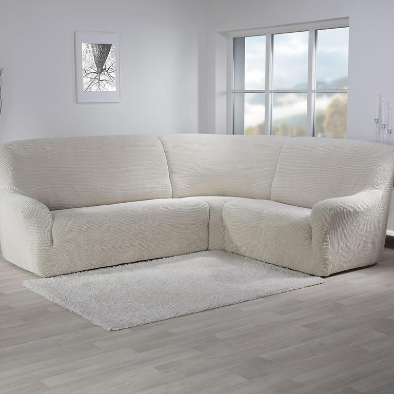 Super strečové poťahy GLAMOUR smotanová rohová sedačka (š. 350 - 530 cm) - 1