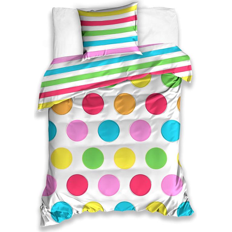 Bavlnené posteľné obliečky farebné BODKY