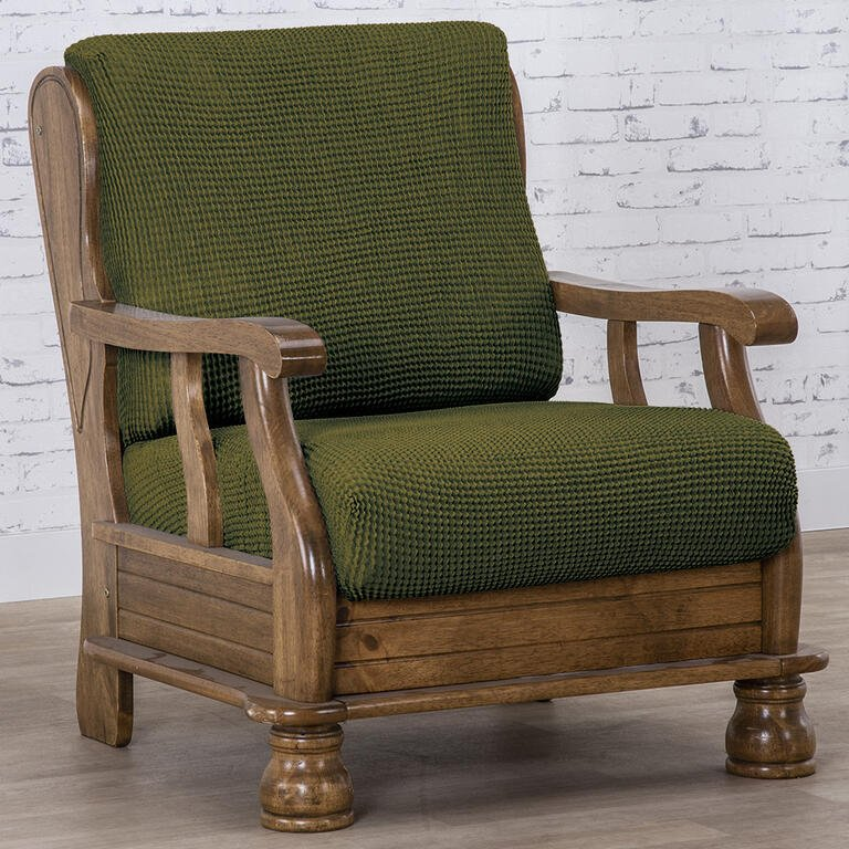 Super strečové poťahy NIAGARA zelená kreslo s drevenými rúčkami (š. 50 - 80 cm)
