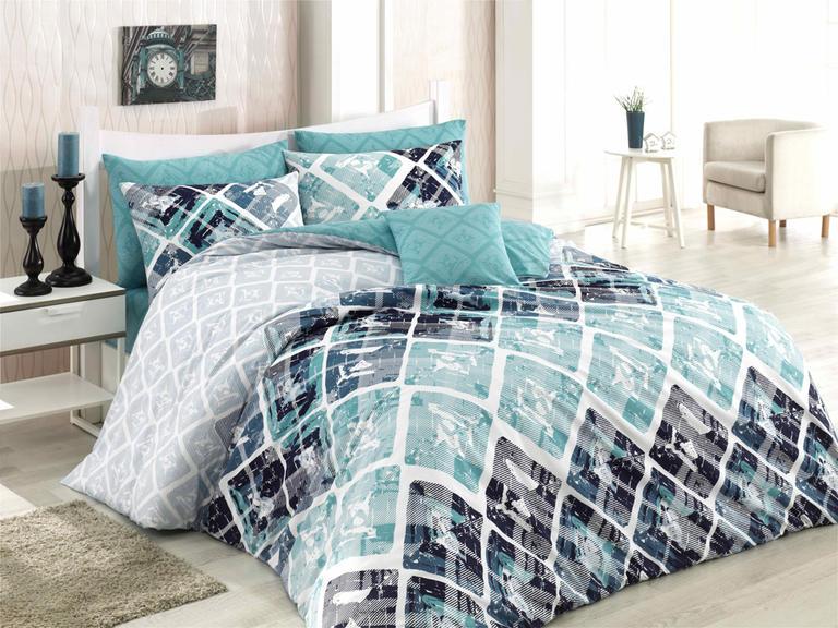 Bavlnené posteľné obliečky Riviera tyrkysové francúzska posteľ