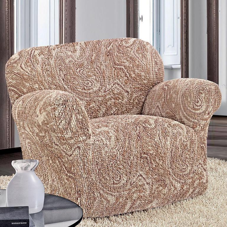 Bielastické poťahy MAREA žíhaná béžová rohová sedačka (š. 350 - 530 cm) - 2