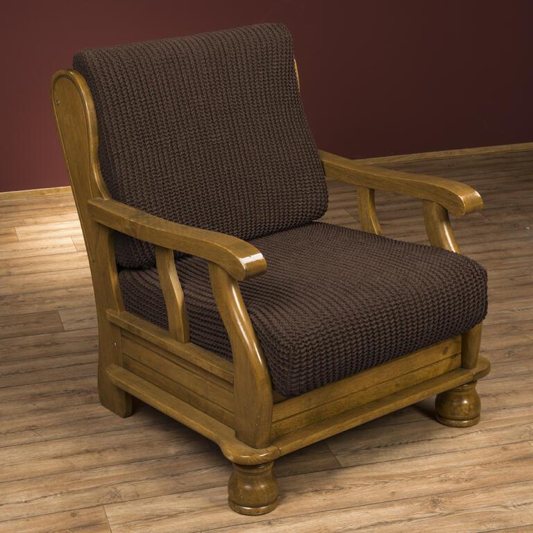 Super strečové poťahy GLAMOUR hnedá kreslo s drevenými rúčkami (š. 60 - 80 cm) - 3